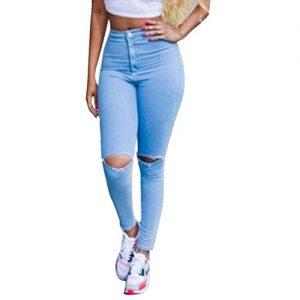 Chouette-Femmes-Pantalons-Trou-Denim-Taille-Haute-lastique-Jeans-Collants-38-0-2