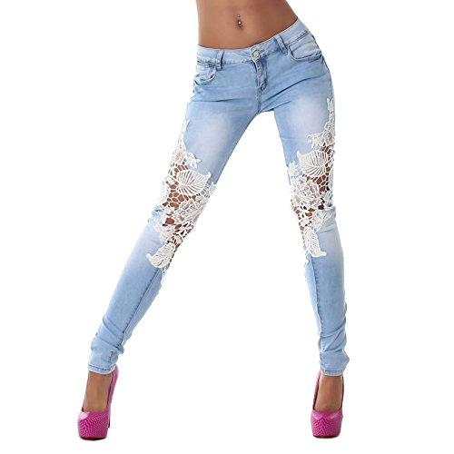 Jardin-Rv-Femmes-Pantalon-Jeans-en-Dentelle-Vintage-Slim-Trous-Crayon-Collants-Pants-FR40-0