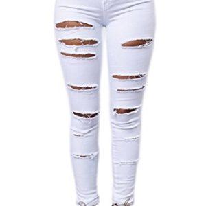 Les-Femmes-Taille-Haute-Des-Pantalons-Jeans-Pantalon-Dchir-Maigre-Occasionnels--Long-White-L-0