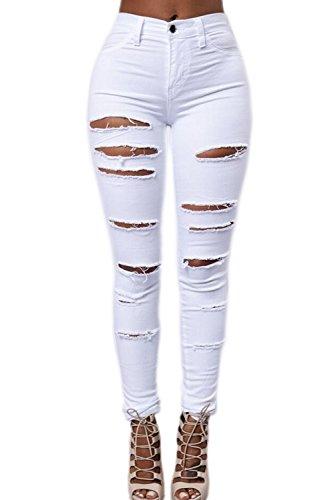 Les-Femmes-Taille-Haute-Des-Pantalons-Jeans-Pantalon-Dchir-Maigre-Occasionnels–Long-White-L-0