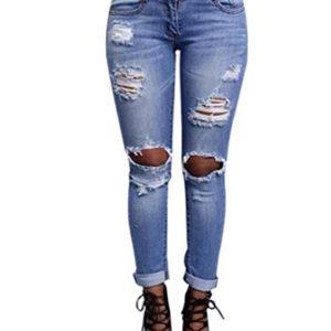 WanYang-Femme-Rtro-Jeans-Dchirs-Trous--Taille-Haute-en-Denim-Pantalons-Slim-Crayon-Pantalon-0
