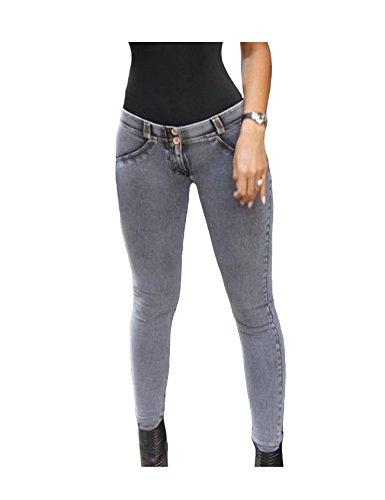 Bestgift-Femme-Jean-serre-slim-flexible-Gris-M-0