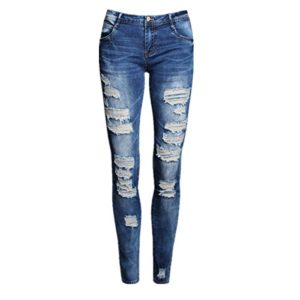 Bluestercool-Pantalons-Femmes-Denim-Skinny-Pantalons-Taille-Haute-Dlav-Dchir-Jeans-Stretch-S-Bleu-0
