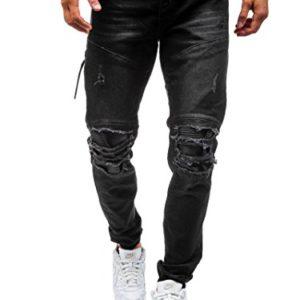 Elonglin-Homme-Jeans-Dchir-Grand-Trou-dlav-Pantalon-Trous-En-Coton-Denim-Stretch-Jeans-Destroy-Trou-Biker-Jeans-Skinny-Slim-Jeans-Streetwear-Noir-Fr-40-Asie-34-0
