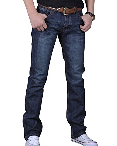 Homme-Stretch-Jeans-Slim-Fit-Straight-Dcontract-Denim-Pantalon-en-Jean-Bleu-Fonc-33-0