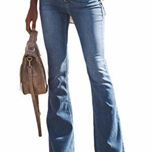 Aleumdr-Femme-Jean-vas-Pants-Pantalon-Boutonn-Stretch-Zipp-Coupe-Slim-Fit-en-Denim-Elastique-avec-Poche-Bootcut-Casual-Dcontract-Mollet-Pantalon-Vintage-A-Bleu-MEU40-42-0