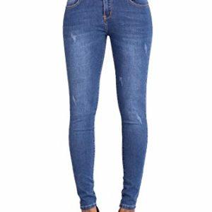 Glook-Pantalon-Femme-Denim-Jeans-Slim-Taille-Haute-Jean-Stretch-Pant-40-Bleu-fan-0