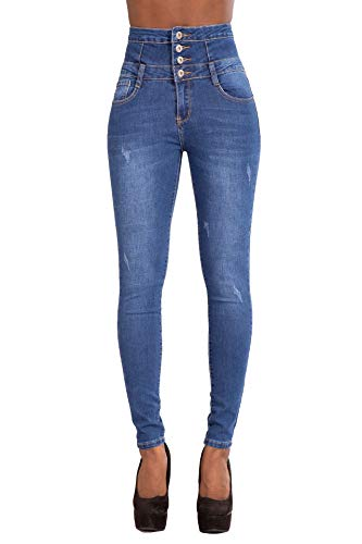 Glook-Pantalon-Femme-Denim-Jeans-Slim-Taille-Haute-Jean-Stretch-Pant-40-Bleu-fan-0