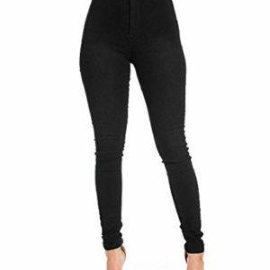 Pantalon-Femme-Slim-Jeans-Grande-Taille-Haute-Stretch-Jeggings-Skinny-Denim-Pantalons-du-36-au-44-Noir-S-0