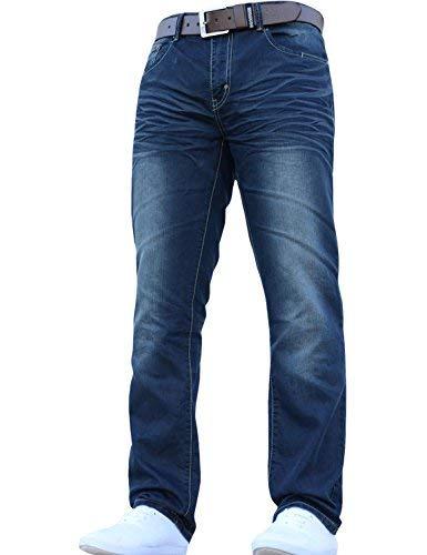 Crosshatch-Jean-pour-hommes-coupe-droite-classique-et-lgant-toutes-tailles-avec-ceinture-Bleu-W32L32-0
