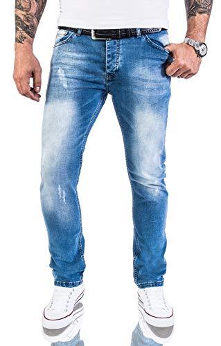 Jeans-Rock-Rock-Designer-Designer-pour-Hommes-Jeans-Stretch-Slim-Fit-Coupe-Slim-RC-2131-Bleu-trs-Clair-W32-L36-0