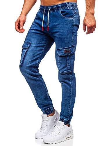BOLF-Pantalon-en-Jean-Jogger-Cargo-pour-Homme-Red-Fireball-HY688-Bleu-fonc-XXL-6F6-0
